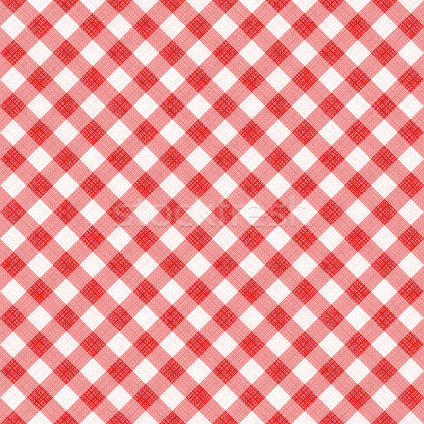 Seamless red diagonal gingham pattern, or fabric cloth Stock photo © ratselmeister