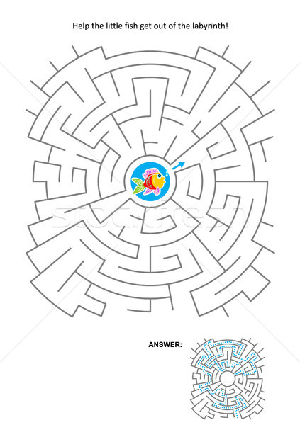 Maze game for kids with little fish Stock photo © ratselmeister