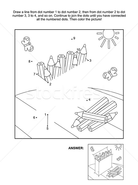 Dot-to-dot and coloring page with box of pencils Stock photo © ratselmeister