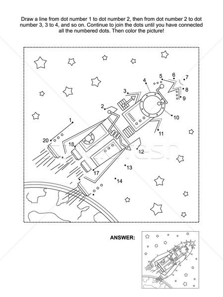 Dot-to-dot activity page - spaceship Stock photo © ratselmeister