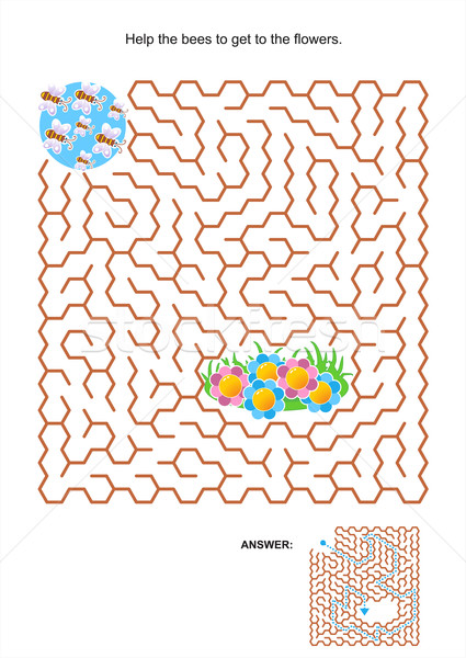 Maze game for kids - bees and flowers Stock photo © ratselmeister