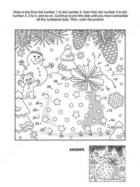 stock photo stock vector illustration new year or christmas themed connect the dots picture puzzle and coloring page with santas sack answer included