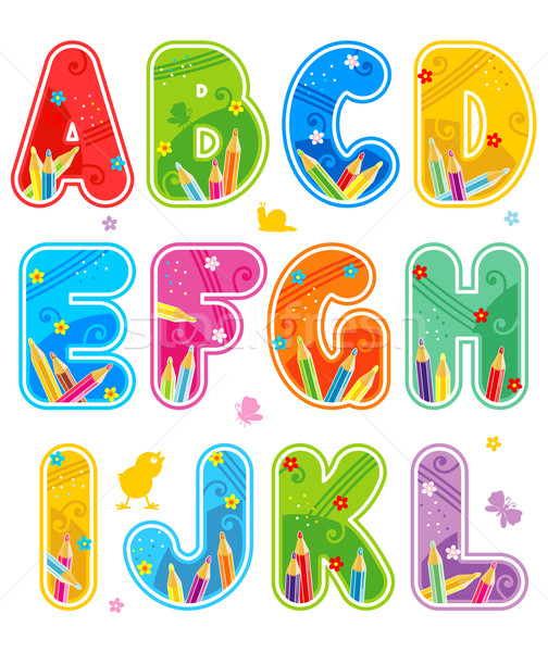 Spring or summer alphabet set letters A - L Stock photo © ratselmeister