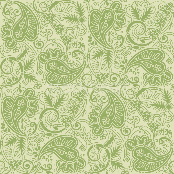 Seamless paisley background of pale green and tan colors Stock photo © ratselmeister