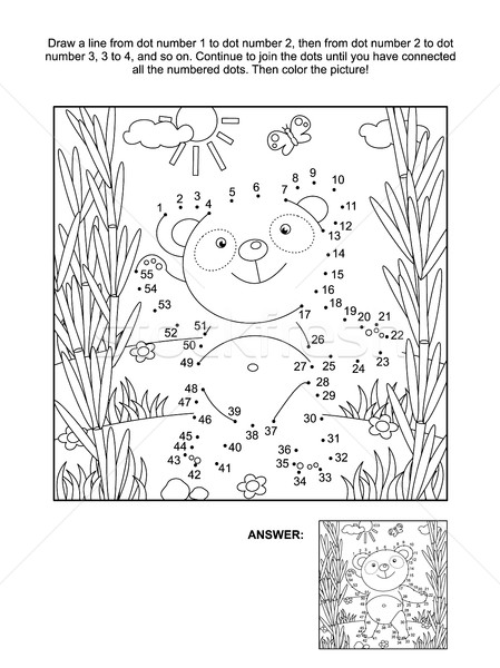 Dot-to-dot and coloring page with panda bear Stock photo © ratselmeister