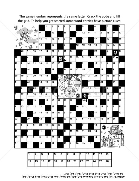 Puzzle strona zimą wakacje słowo gry Zdjęcia stock © ratselmeister
