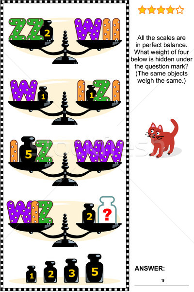 Stock photo: Visual math puzzle with scales, weights, and letters I, W, Z