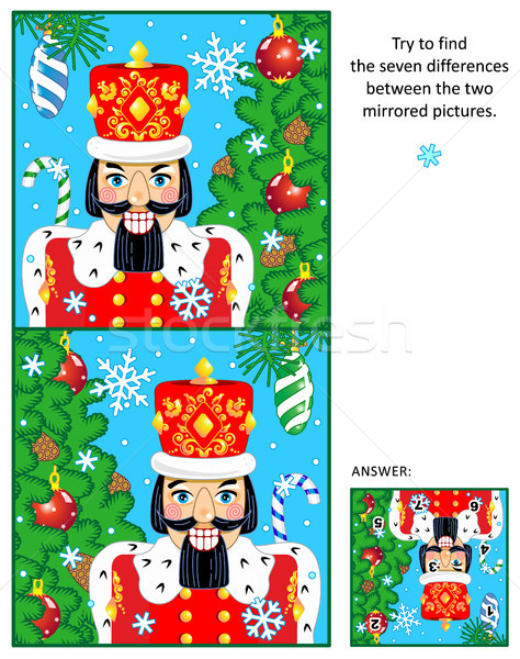Christmas or New Year find the differences picture puzzle with nutcracker Stock photo © ratselmeister