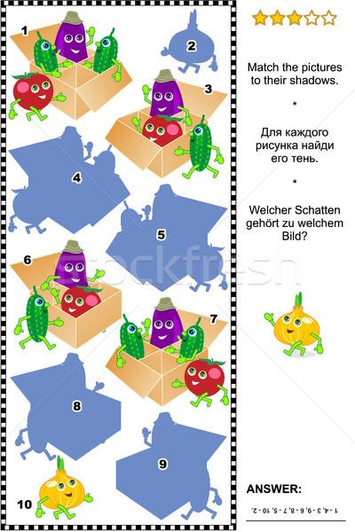 Sombra jogo bonitinho vegetal quebra-cabeça Foto stock © ratselmeister