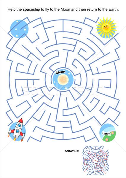 Maze game for kids - spaceship Moon flight Stock photo © ratselmeister
