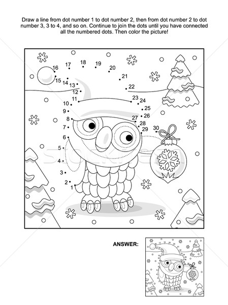 Dot-to-dot and coloring page with christmas owl Stock photo © ratselmeister
