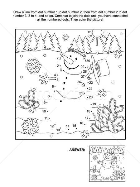 Stock photo: Dot-to-dot and coloring page - snowman
