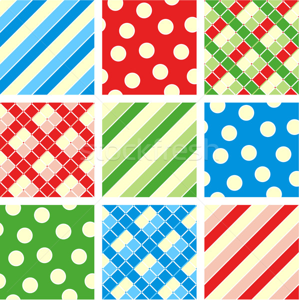 Nine seamless patterns - polka-dot, plaid, stripes Stock photo © ratselmeister