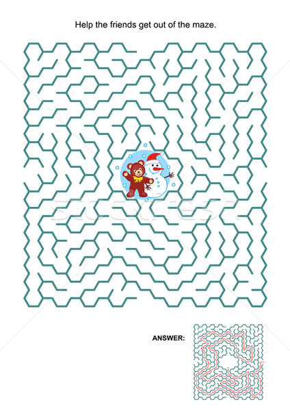 Maze game with teddy bear and snowman Stock photo © ratselmeister