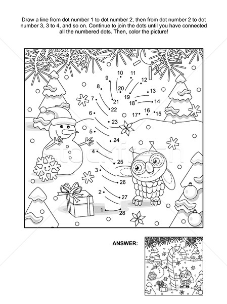 Dot-to-dot and coloring page with candy cane Stock photo © ratselmeister