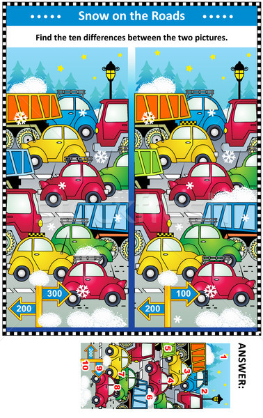 Winter traffic jam find the differences picture puzzle Stock photo © ratselmeister