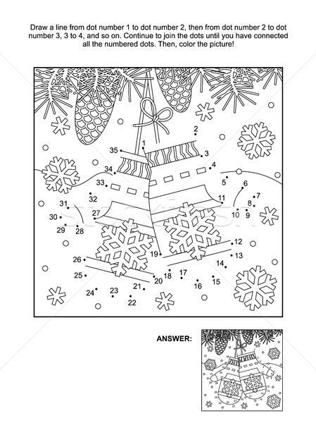 Stock photo: Dot-to-dot and coloring page with Santa's mittens