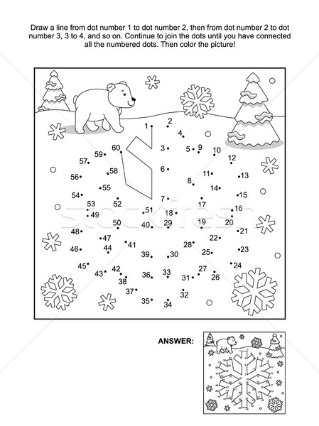 Stock photo: Dot-to-dot and coloring page - snowflake