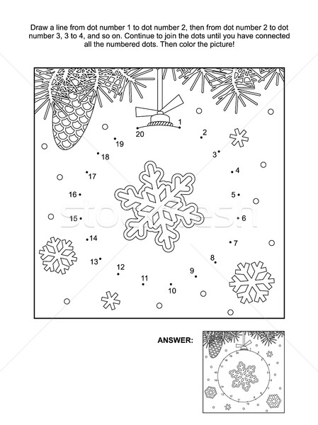 Dot-to-dot and coloring page - christmas ornament Stock photo © ratselmeister