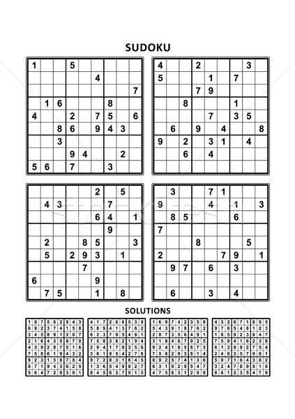Four sudoku games with answers. Set 1. Stock photo © ratselmeister