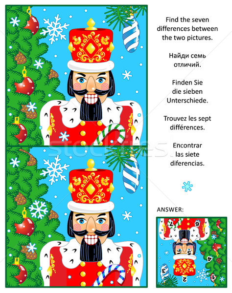 Winter holidays find the differences picture puzzle with nutcracker Stock photo © ratselmeister
