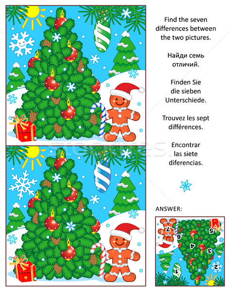 Holiday find the differences picture puzzle with christmas tree Stock photo © ratselmeister