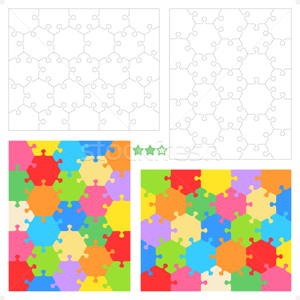 Hexagonal jigsaw puzzles blank templates and colorful patterns Stock photo © ratselmeister