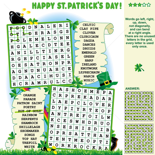 St. Patrick's Day wordsearch puzzle Stock photo © ratselmeister