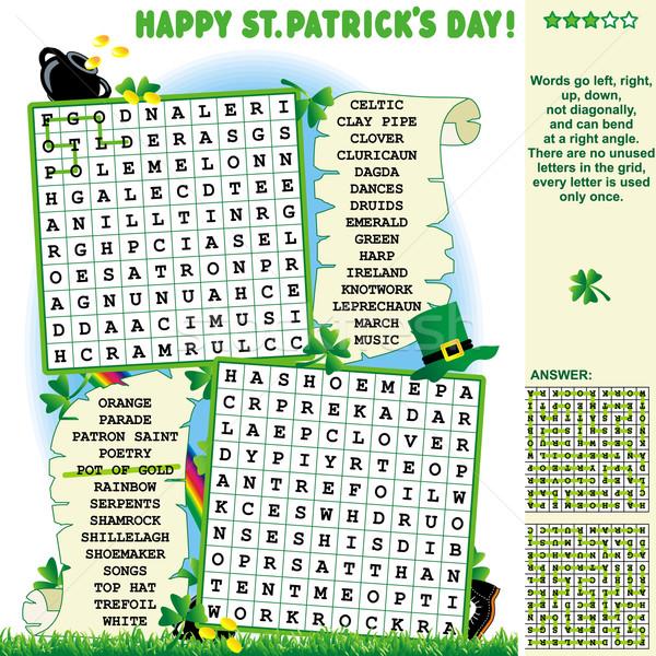 Dia de São Patricio quebra-cabeça palavra pesquisar responder verde Foto stock © ratselmeister