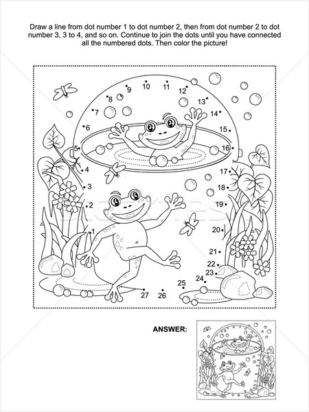 Dot-to-dot and coloring page with happy frogs Stock photo © ratselmeister