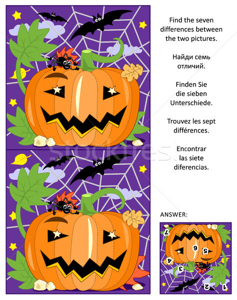 Halloween find the differences picture puzzle with pumpkin, bats and spider Stock photo © ratselmeister