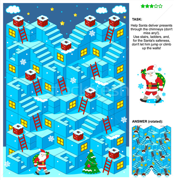 Santa deliver presents 3d Christmas or New Year maze game Stock photo © ratselmeister