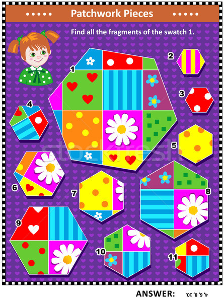 Quilting or patchwork themed logic picture puzzle Stock photo © ratselmeister