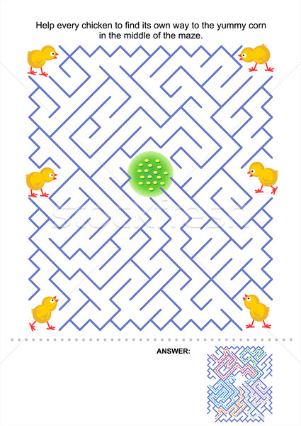 Maze game for kids - chickens and corn Stock photo © ratselmeister