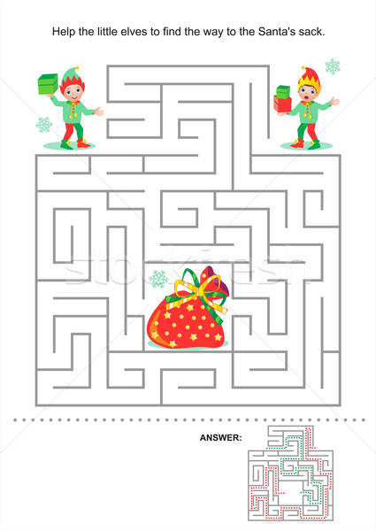 Natal ano novo labirinto jogo crianças ajudar Foto stock © ratselmeister