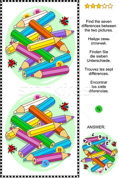 Colored pencils visual riddle - find the differences Stock photo © ratselmeister