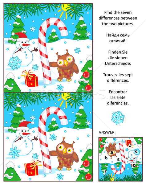 Holiday find the differences picture puzzle with candy cane Stock photo © ratselmeister