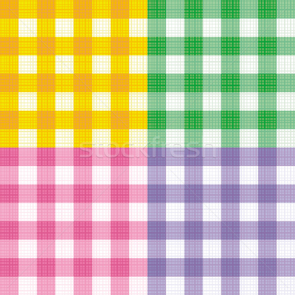 Green, pink, yellow and purple gingham seamless repeat patterns with fabric texture Stock photo © ratselmeister