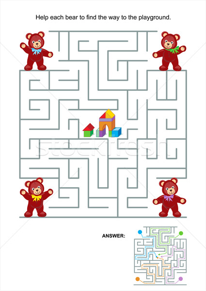 Maze game for kids - teddy bears Stock photo © ratselmeister