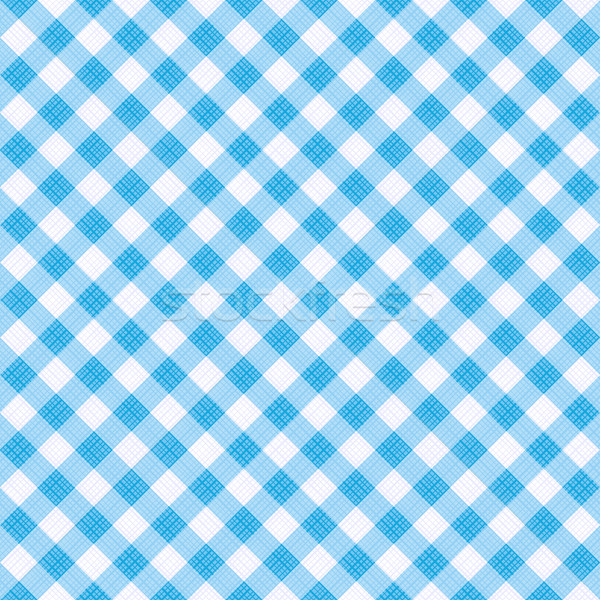 Stock photo: Seamless light blue colors diagonal gingham pattern, or fabric cloth