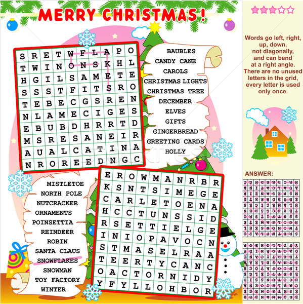 Christmas wordsearch puzzle vector
