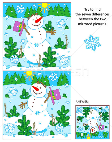 Cheerful snowman find the differences between the mirrored pictures puzzle  Stock photo © ratselmeister