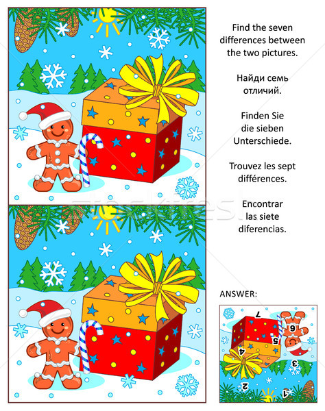 Christmas or New Year find the differences picture puzzle with giftbox and ginger man Stock photo © ratselmeister