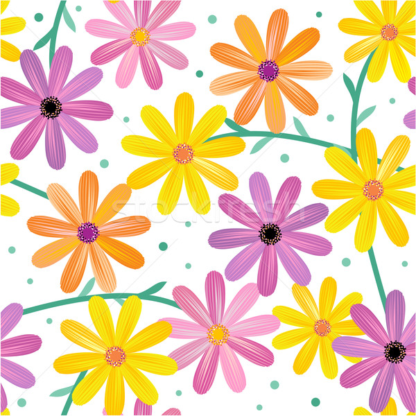 Seamless gerbera daisy flowers pattern, background Stock photo © ratselmeister