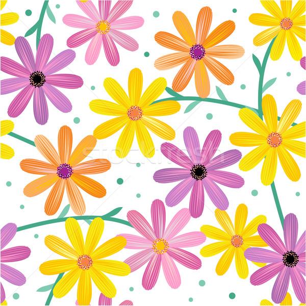 Sem costura margarida flores padrão branco Foto stock © ratselmeister