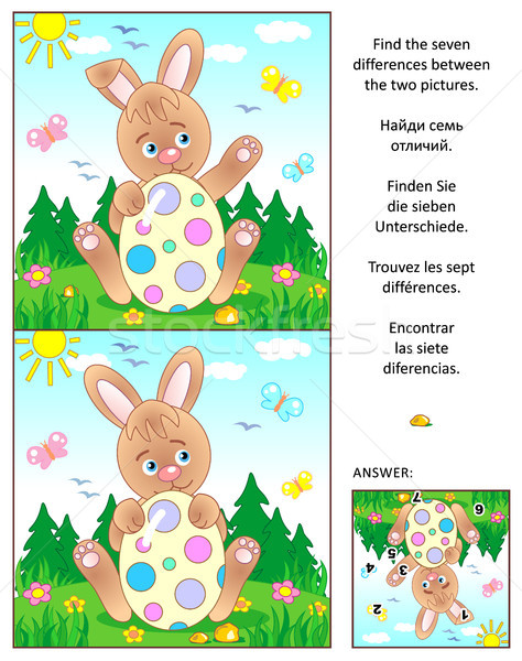 Find the differences picture puzzle with Easter bunny and painted egg Stock photo © ratselmeister
