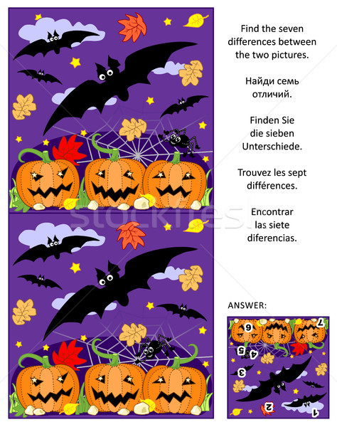 Stock photo: Halloween find the differences picture puzzle with flying bats, pumpkin field, spider