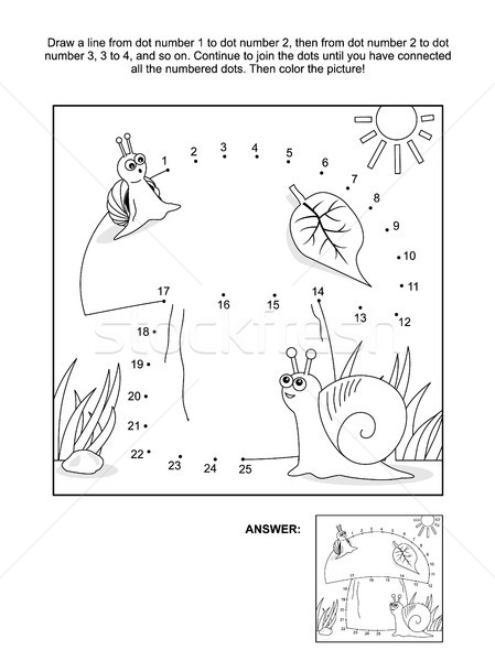 Dot-to-dot and coloring page with snails and mushroom Stock photo © ratselmeister