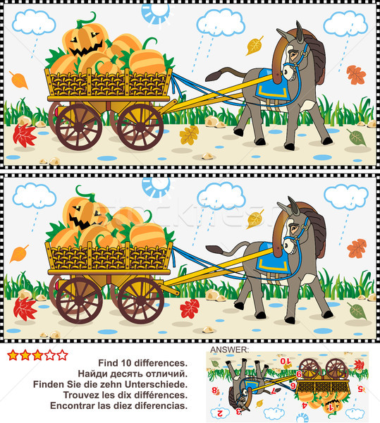 Find the differences visual puzzle - burro pulling cart with pumpkins Stock photo © ratselmeister