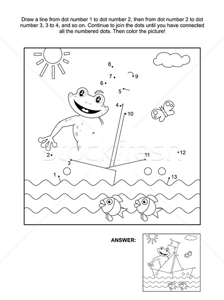 Dot-to-dot and coloring page with boat and frog Stock photo © ratselmeister